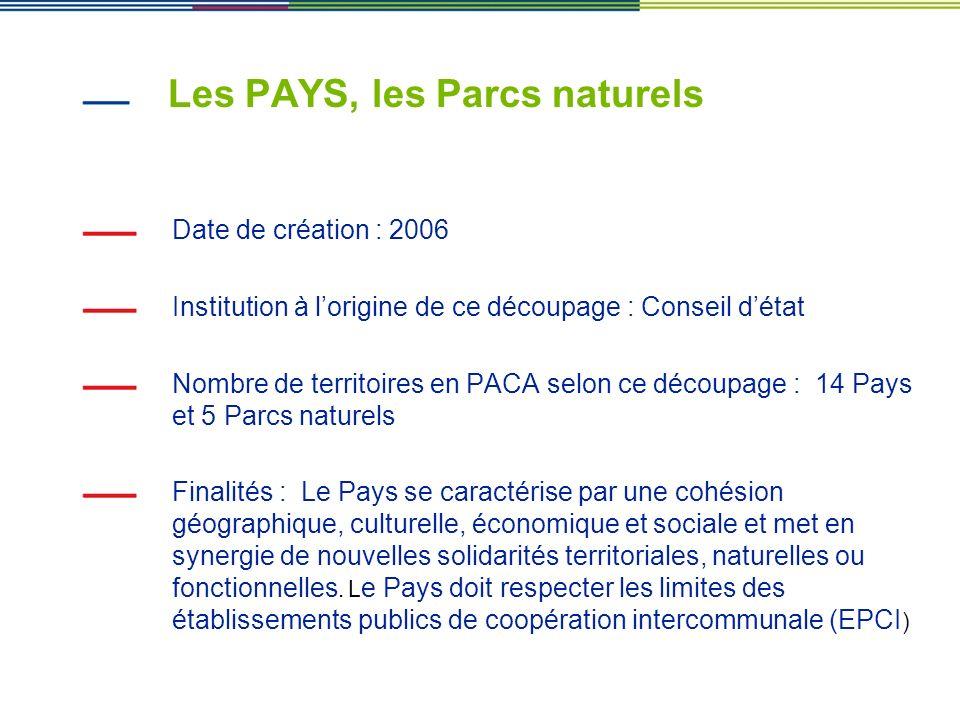 Les PAYS, les Parcs naturels Date de création : 2006 Institution à lorigine de ce découpage : Conseil détat Nombre de territoires en PACA selon ce déc