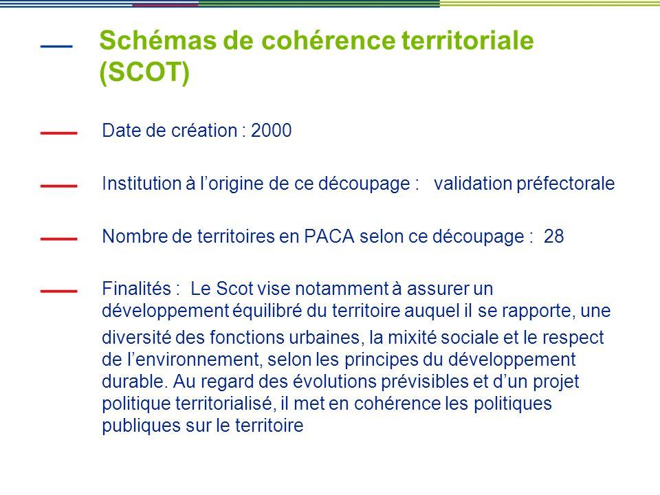 Schémas de cohérence territoriale (SCOT) Date de création : 2000 Institution à lorigine de ce découpage : validation préfectorale Nombre de territoire