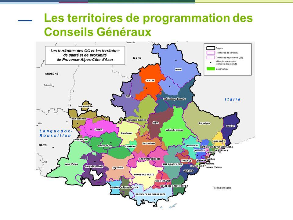 Les territoires de programmation des Conseils Généraux
