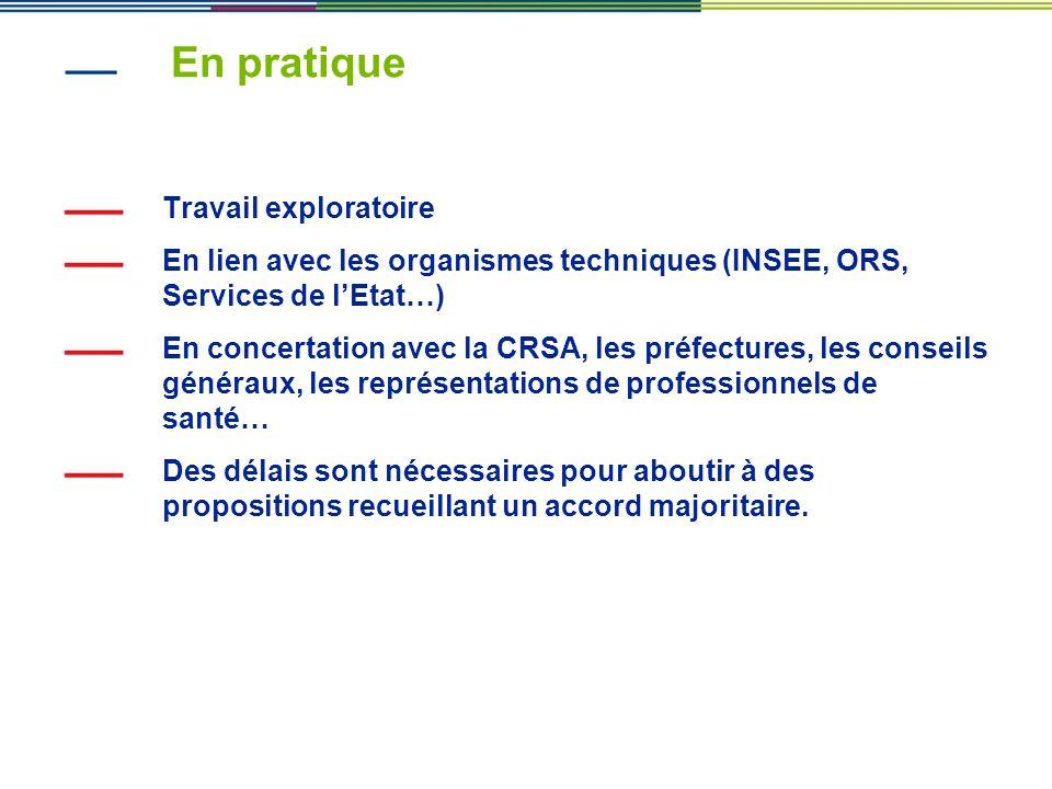 En pratique Travail exploratoire En lien avec les organismes techniques (INSEE, ORS, Services de lEtat…) En concertation avec la CRSA, les préfectures