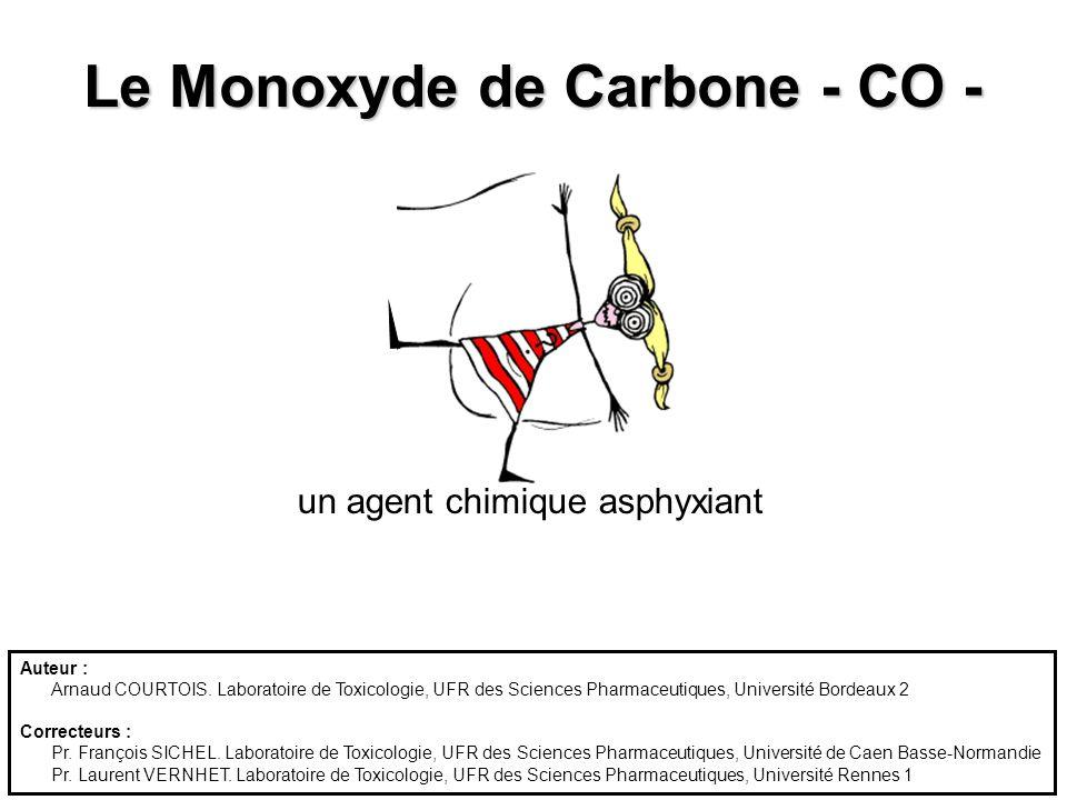 Le Monoxyde de Carbone - CO - un agent chimique asphyxiant Auteur : Arnaud COURTOIS. Laboratoire de Toxicologie, UFR des Sciences Pharmaceutiques, Uni