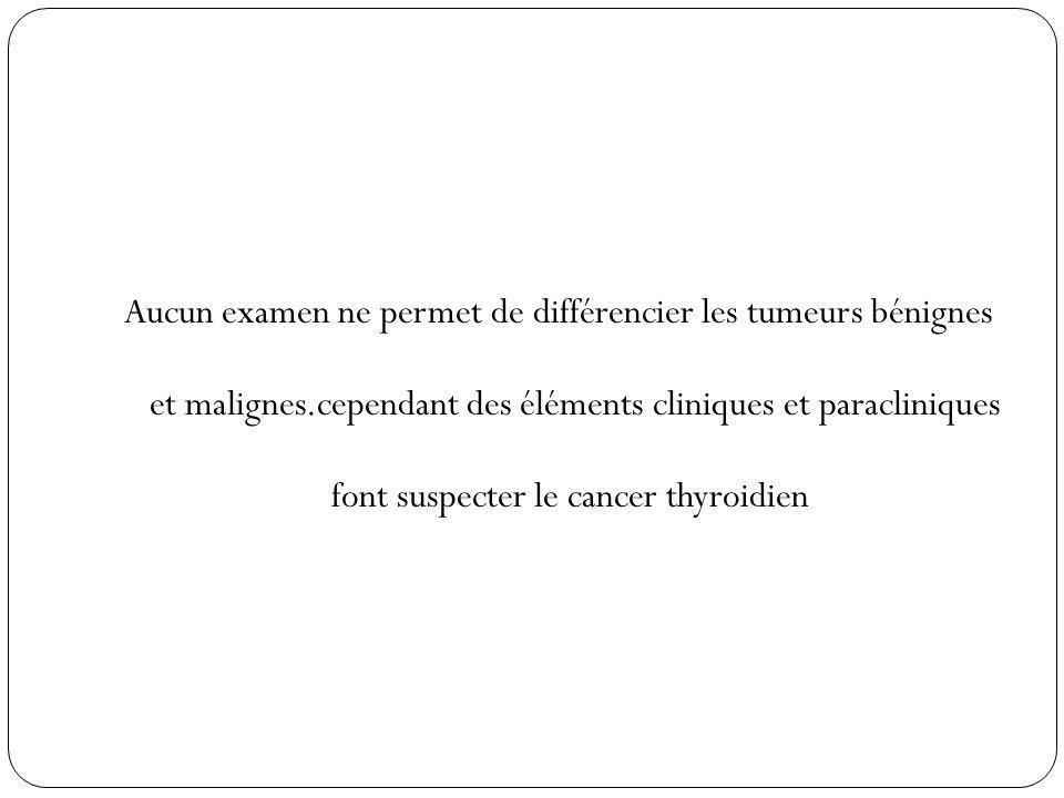 Aucun examen ne permet de différencier les tumeurs bénignes et malignes.cependant des éléments cliniques et paracliniques font suspecter le cancer thy