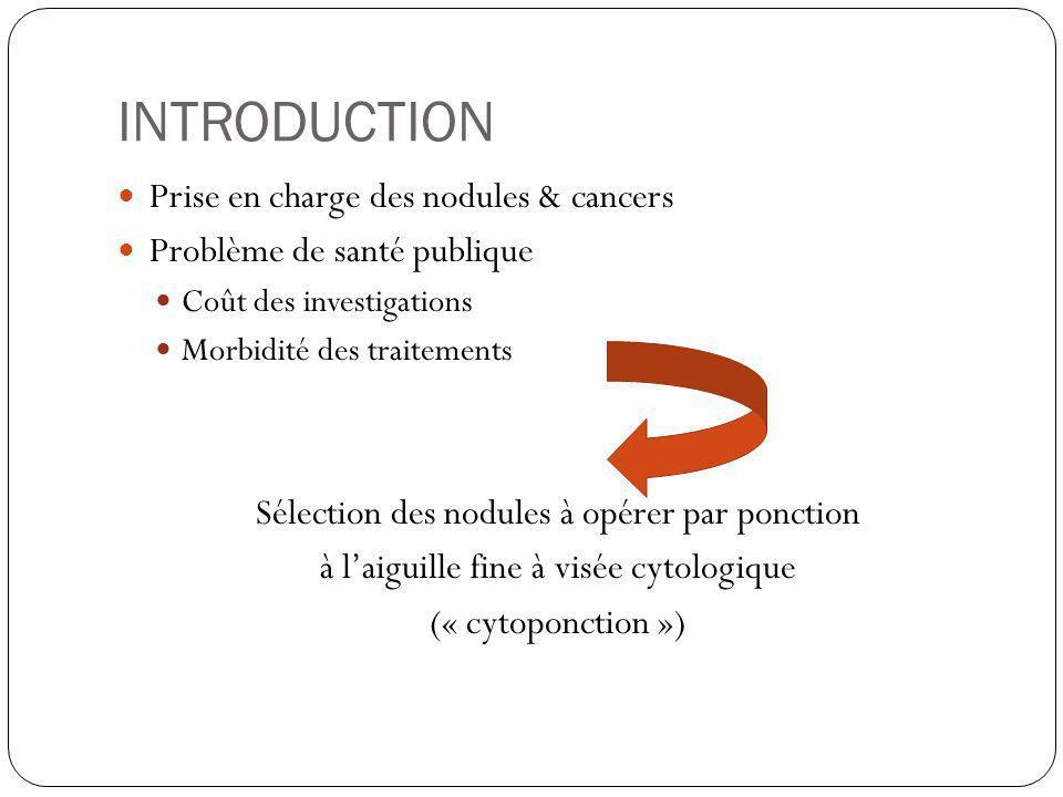 INTRODUCTION Prise en charge des nodules & cancers Problème de santé publique Coût des investigations Morbidité des traitements Sélection des nodules