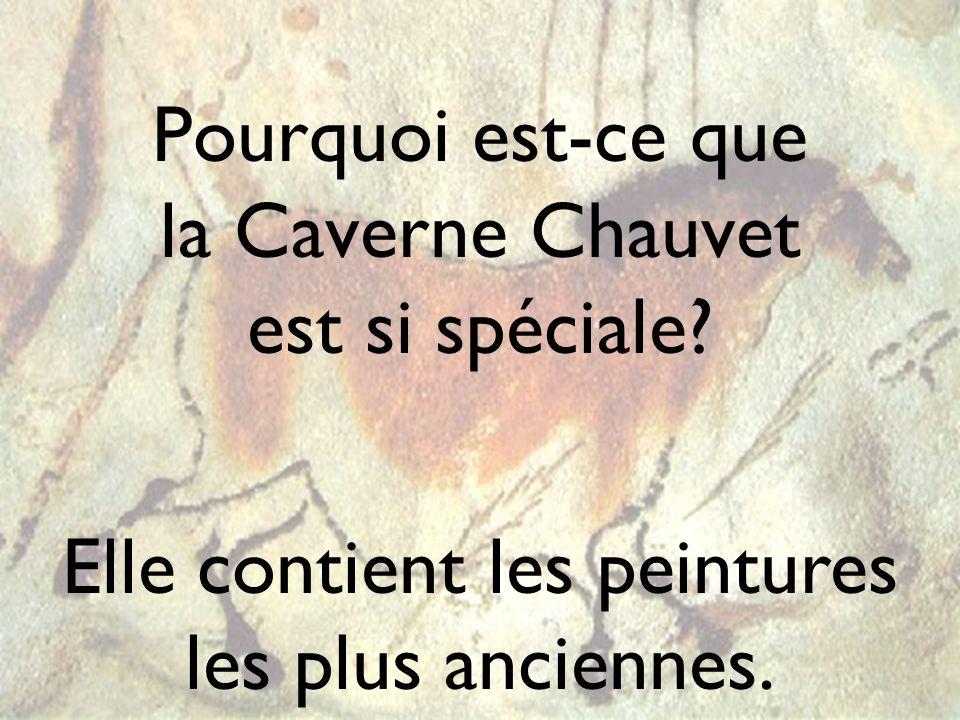 Pourquoi est-ce que la Caverne Chauvet est si spéciale? Elle contient les peintures les plus anciennes.