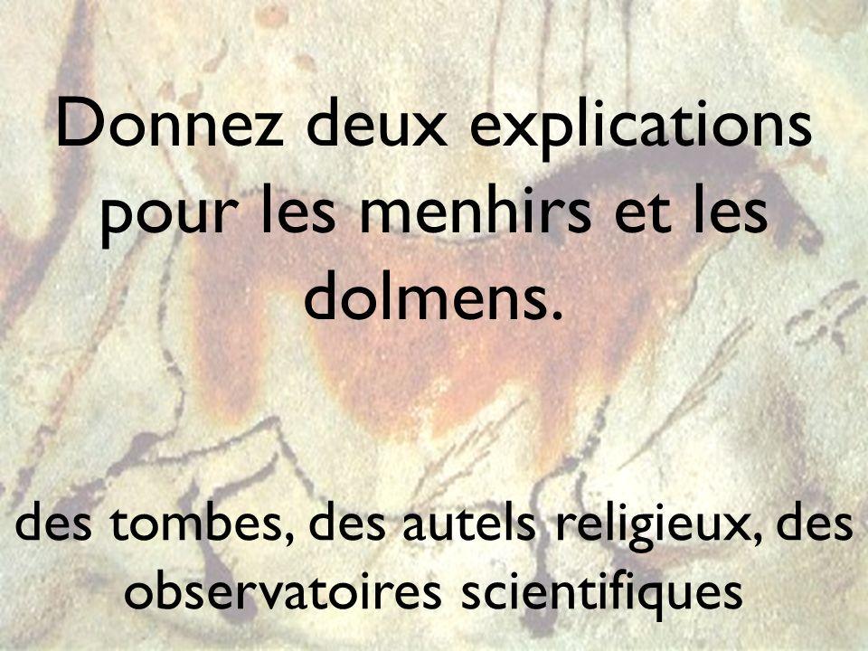 Donnez deux explications pour les menhirs et les dolmens. des tombes, des autels religieux, des observatoires scientifiques