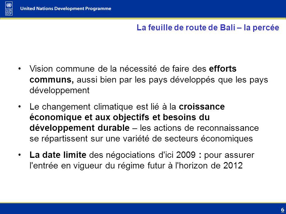 7 Transition from UNFCCC……… Adaptation Mitigation Action mondiale Objectifs de développement durable Financement Atténuation Adaptation Technologie Composantes principales