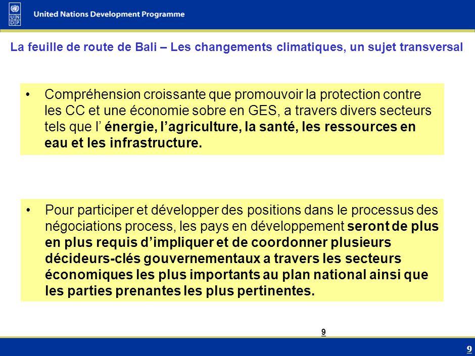 10 Conclusions Les négociations sur les CC ont évolué vers des thèmes de plus en plus vastes mettant en relation les couts/besoin pour faire face simultanément les CC, la croissance économique et le développement.