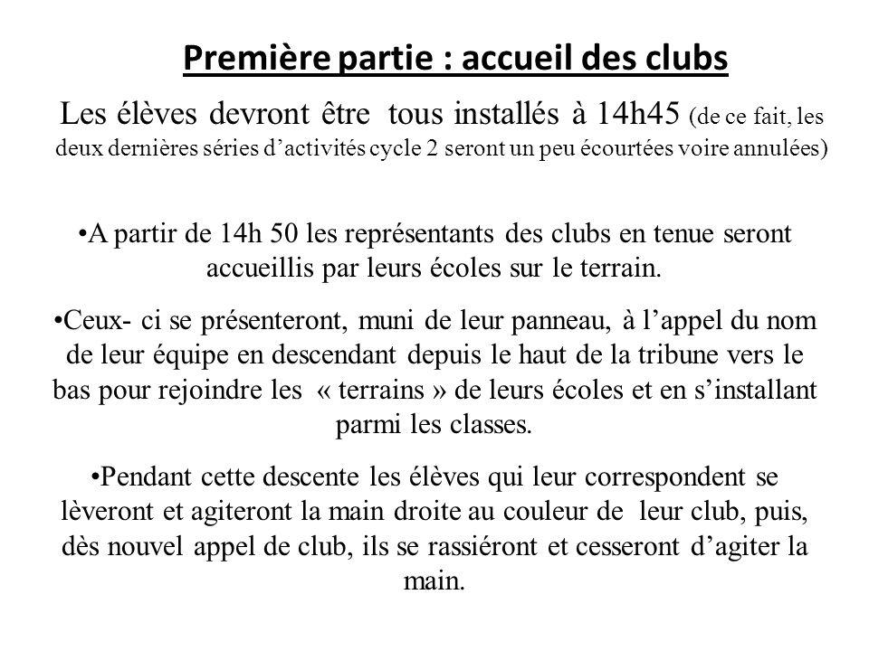 Deuxième partie : accueil CHABALA Dès la fin de linstallation des membres des clubs avec leurs écoles les enfants seront amenés à encourager les « bleus ».