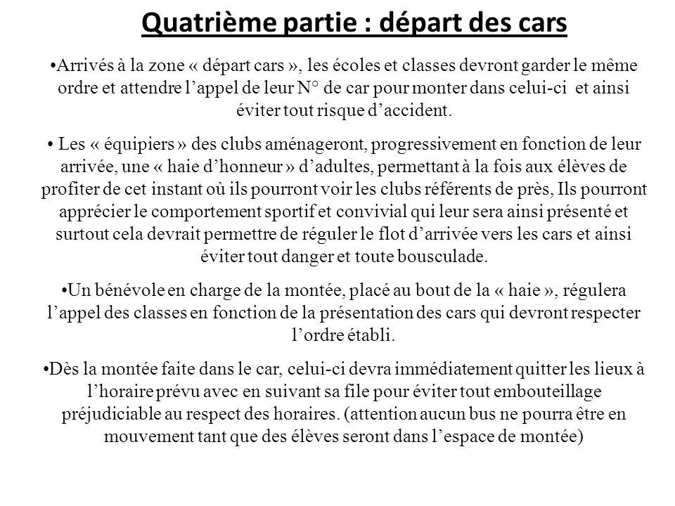 Quatrième partie : départ des cars Arrivés à la zone « départ cars », les écoles et classes devront garder le même ordre et attendre lappel de leur N°