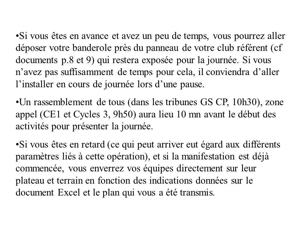 Si vous êtes en avance et avez un peu de temps, vous pourrez aller déposer votre banderole près du panneau de votre club référent (cf documents p.8 et
