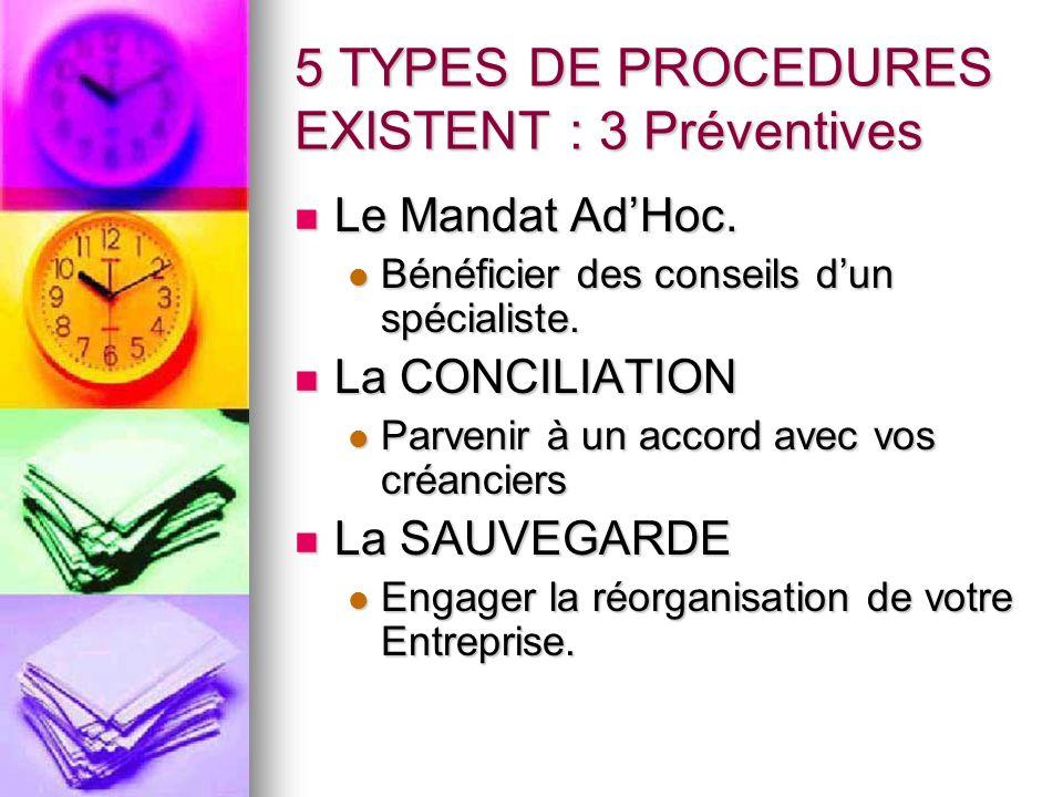 5 TYPES DE PROCEDURES EXISTENT : 3 Préventives Le Mandat AdHoc. Le Mandat AdHoc. Bénéficier des conseils dun spécialiste. Bénéficier des conseils dun