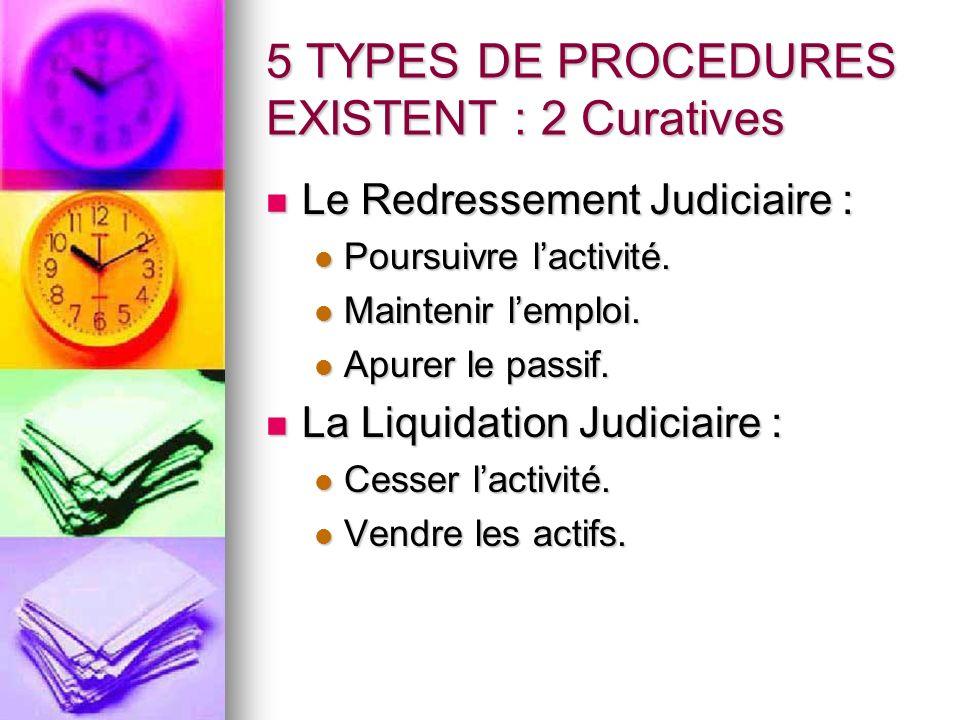 5 TYPES DE PROCEDURES EXISTENT : 2 Curatives Le Redressement Judiciaire : Le Redressement Judiciaire : Poursuivre lactivité. Poursuivre lactivité. Mai