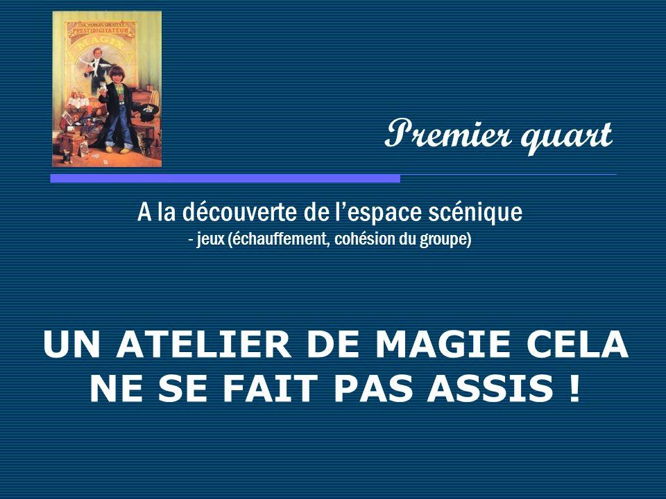 A la découverte de lespace scénique - jeux (échauffement, cohésion du groupe) Premier quart UN ATELIER DE MAGIE CELA NE SE FAIT PAS ASSIS !