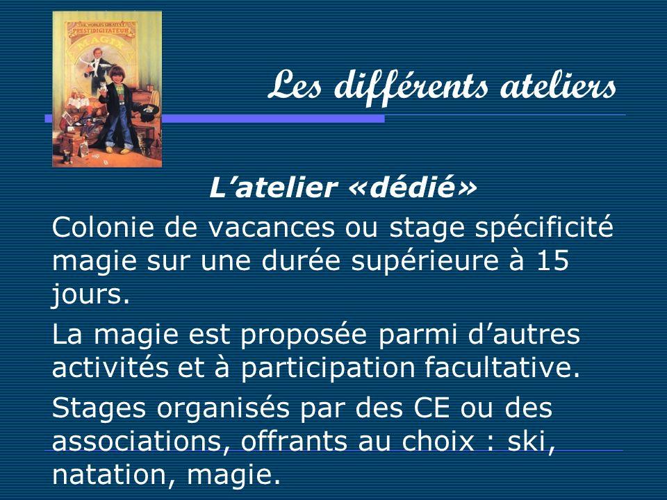 Les différents ateliers Latelier «dédié» Colonie de vacances ou stage spécificité magie sur une durée supérieure à 15 jours. La magie est proposée par