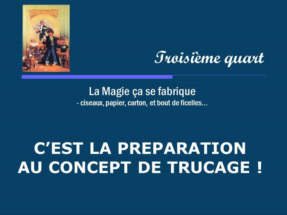 La Magie ça se fabrique - ciseaux, papier, carton, et bout de ficelles… Troisième quart CEST LA PREPARATION AU CONCEPT DE TRUCAGE !