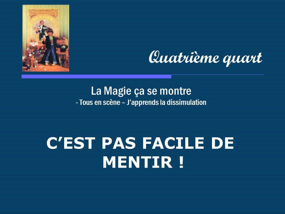 La Magie ça se montre - Tous en scène – Japprends la dissimulation Quatrième quart CEST PAS FACILE DE MENTIR !