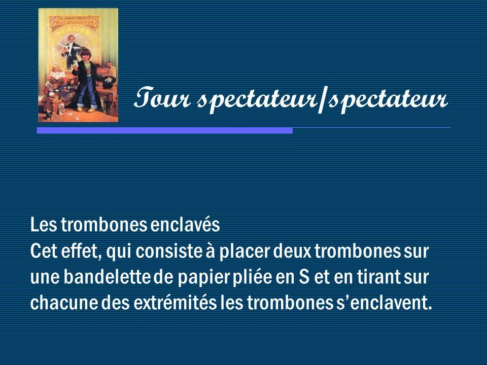 Les trombones enclavés Cet effet, qui consiste à placer deux trombones sur une bandelette de papier pliée en S et en tirant sur chacune des extrémités