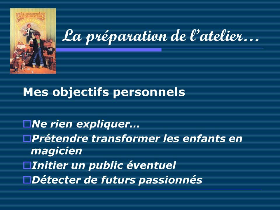 La préparation de latelier… Mes objectifs personnels Ne rien expliquer… Prétendre transformer les enfants en magicien Initier un public éventuel Détec