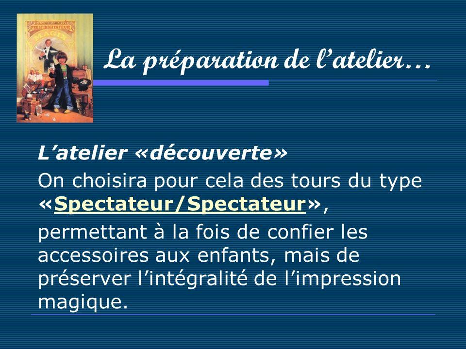 La préparation de latelier… Latelier «découverte» On choisira pour cela des tours du type «Spectateur/Spectateur»,Spectateur/Spectateur permettant à l