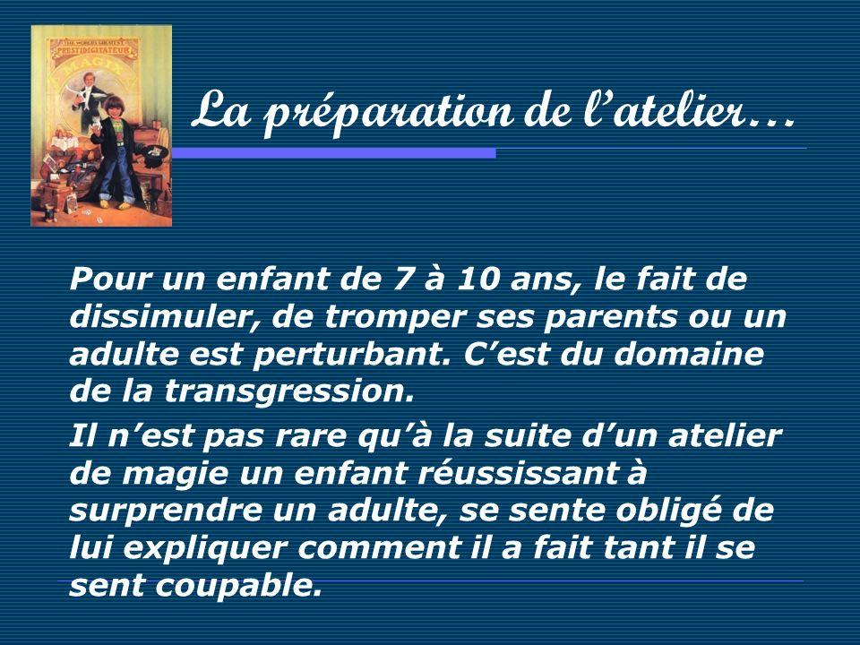 La préparation de latelier… Pour un enfant de 7 à 10 ans, le fait de dissimuler, de tromper ses parents ou un adulte est perturbant. Cest du domaine d