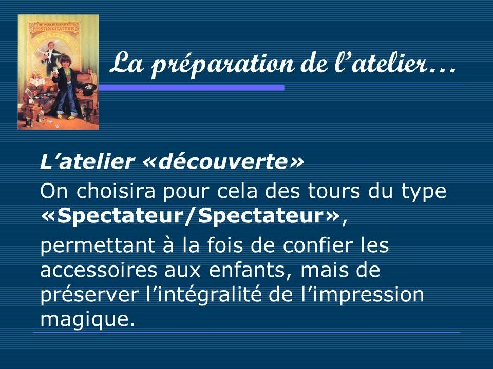 La préparation de latelier… Latelier «découverte» On choisira pour cela des tours du type «Spectateur/Spectateur», permettant à la fois de confier les