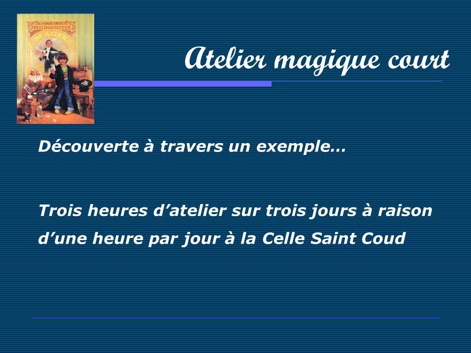 Atelier magique court Découverte à travers un exemple… Trois heures datelier sur trois jours à raison dune heure par jour à la Celle Saint Coud