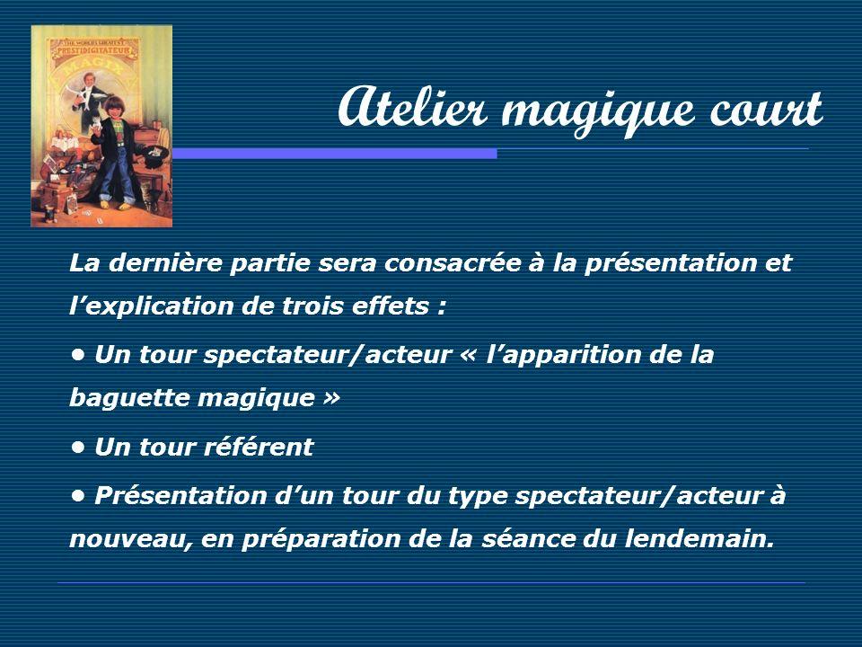 Atelier magique court La dernière partie sera consacrée à la présentation et lexplication de trois effets : Un tour spectateur/acteur « lapparition de