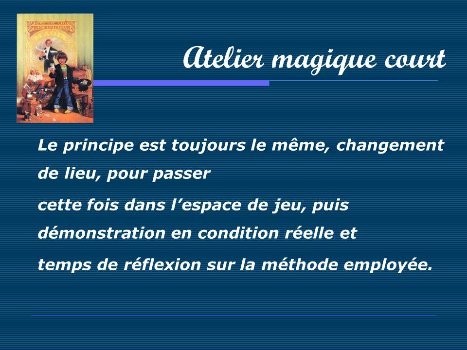 Atelier magique court Le principe est toujours le même, changement de lieu, pour passer cette fois dans lespace de jeu, puis démonstration en conditio