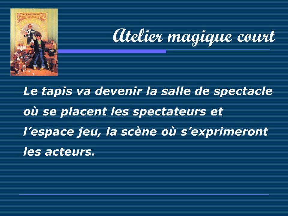 Atelier magique court Le tapis va devenir la salle de spectacle où se placent les spectateurs et lespace jeu, la scène où sexprimeront les acteurs.