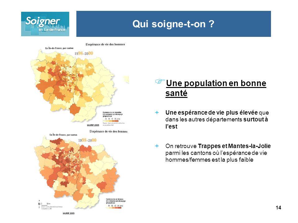 14 Une population en bonne santé Une espérance de vie plus élevée que dans les autres départements surtout à lest On retrouve Trappes et Mantes-la-Jol