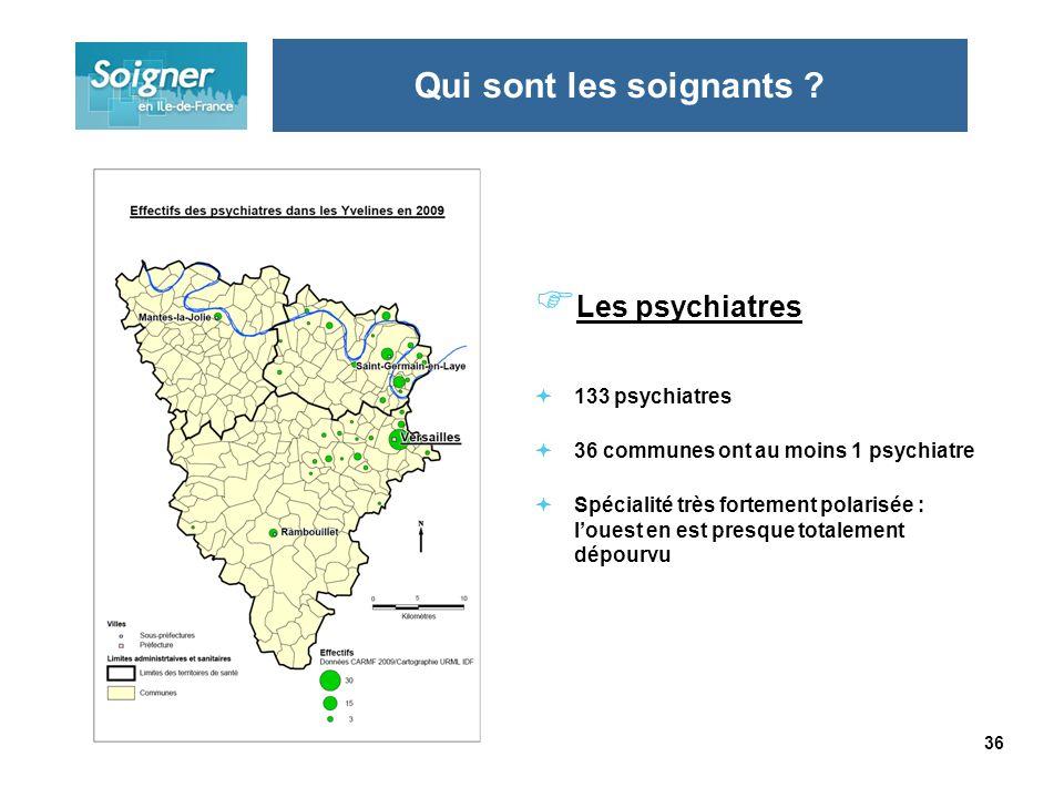 36 Les psychiatres 133 psychiatres 36 communes ont au moins 1 psychiatre Spécialité très fortement polarisée : louest en est presque totalement dépourvu Qui sont les soignants