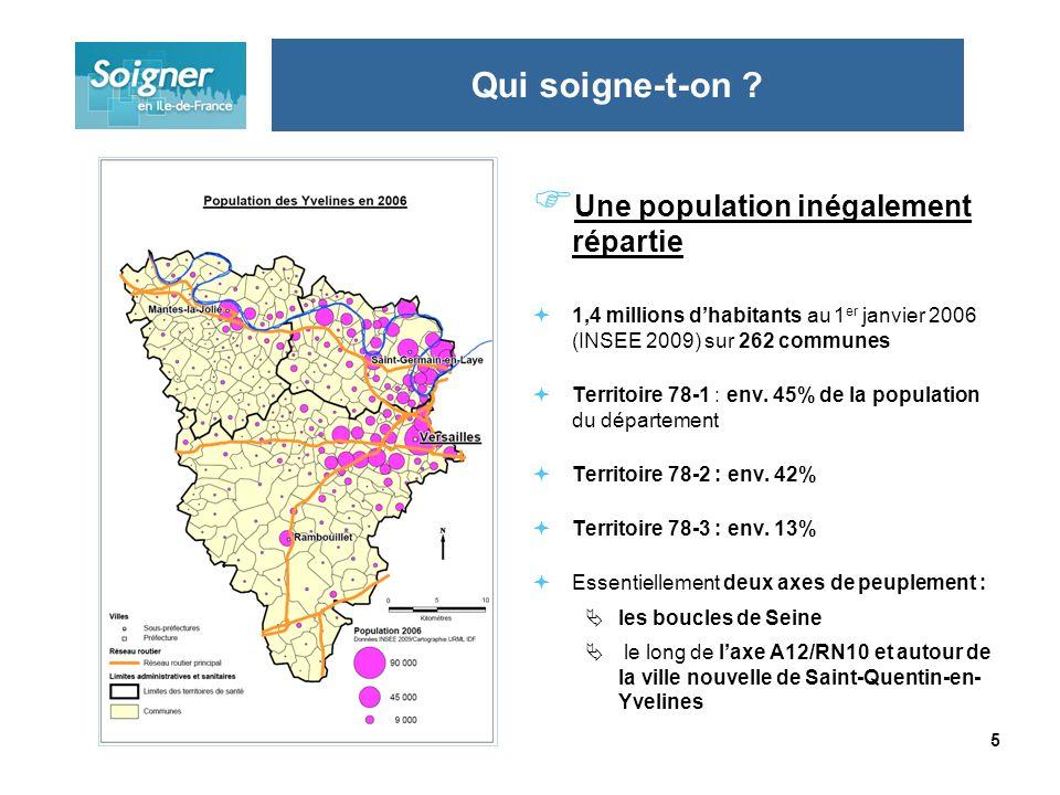 5 Une population inégalement répartie 1,4 millions dhabitants au 1 er janvier 2006 (INSEE 2009) sur 262 communes Territoire 78-1 : env. 45% de la popu