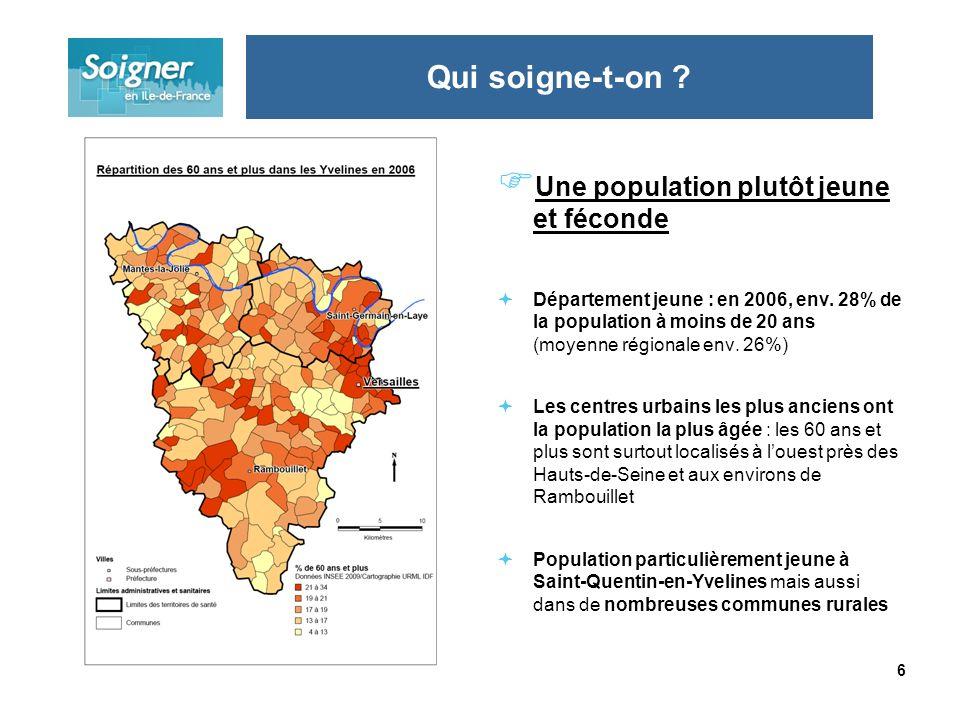 6 Une population plutôt jeune et féconde Département jeune : en 2006, env. 28% de la population à moins de 20 ans (moyenne régionale env. 26%) Les cen