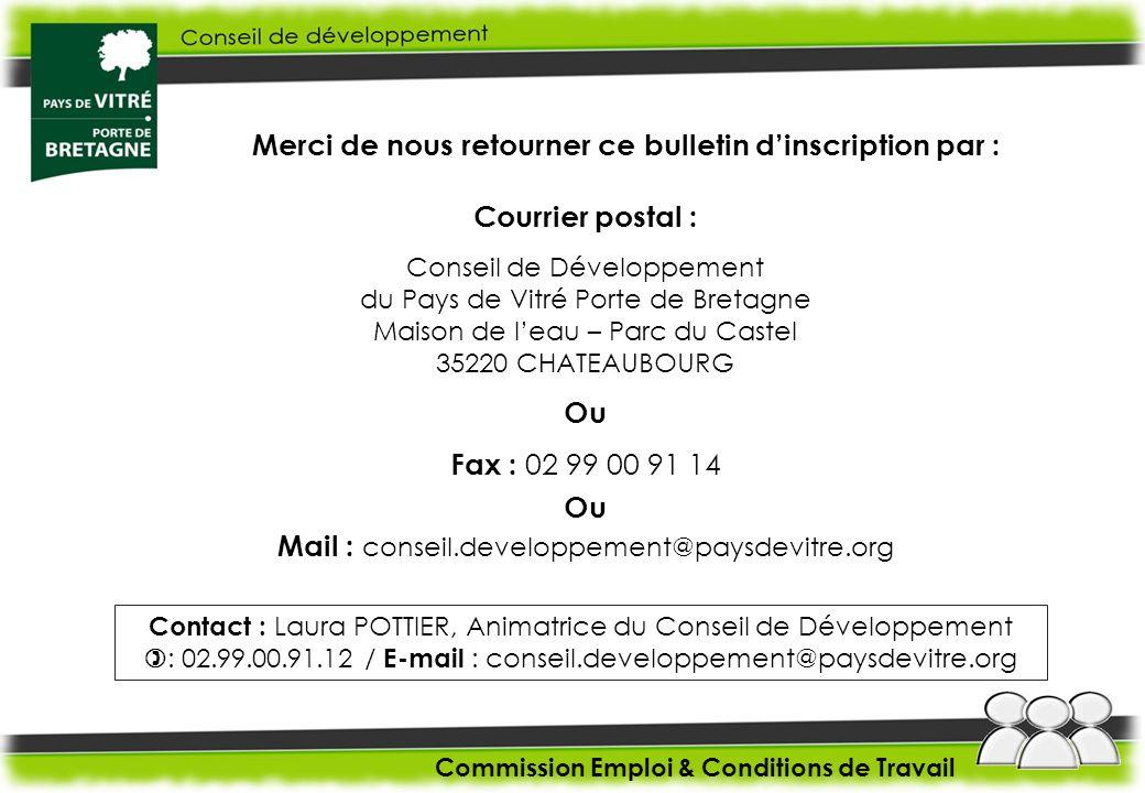 Merci de nous retourner ce bulletin dinscription par : Courrier postal : Conseil de Développement du Pays de Vitré Porte de Bretagne Maison de leau –