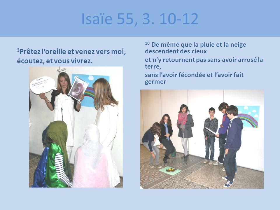 Isaïe 55, 3. 10-12 3 Prêtez loreille et venez vers moi, écoutez, et vous vivrez. 10 De même que la pluie et la neige descendent des cieux et ny retour