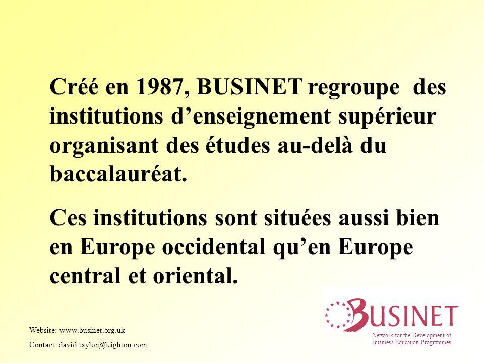 Créé en 1987, BUSINET regroupe des institutions denseignement supérieur organisant des études au-delà du baccalauréat. Ces institutions sont situées a