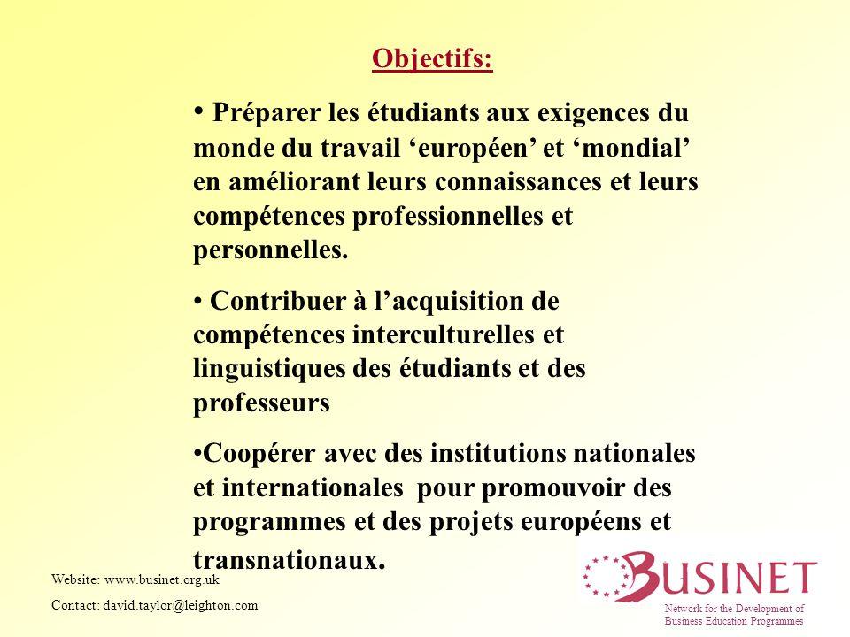 Objectifs: Préparer les étudiants aux exigences du monde du travail européen et mondial en améliorant leurs connaissances et leurs compétences profess