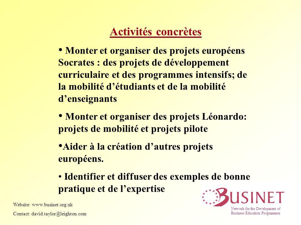 Activités concrètes Monter et organiser des projets européens Socrates : des projets de développement curriculaire et des programmes intensifs; de la