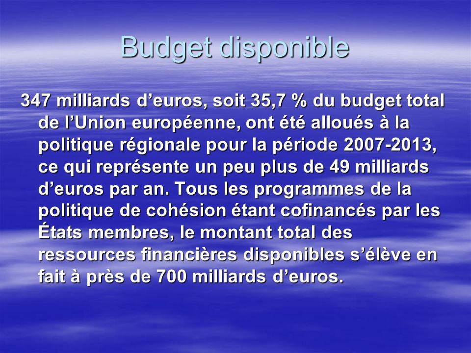 Budget disponible 347 milliards deuros, soit 35,7 % du budget total de lUnion européenne, ont été alloués à la politique régionale pour la période 2007-2013, ce qui représente un peu plus de 49 milliards deuros par an.
