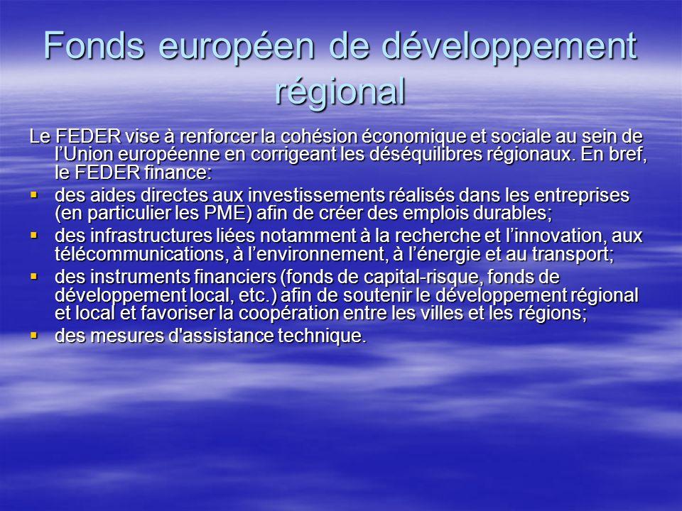 Fonds européen de développement régional Le FEDER vise à renforcer la cohésion économique et sociale au sein de lUnion européenne en corrigeant les déséquilibres régionaux.