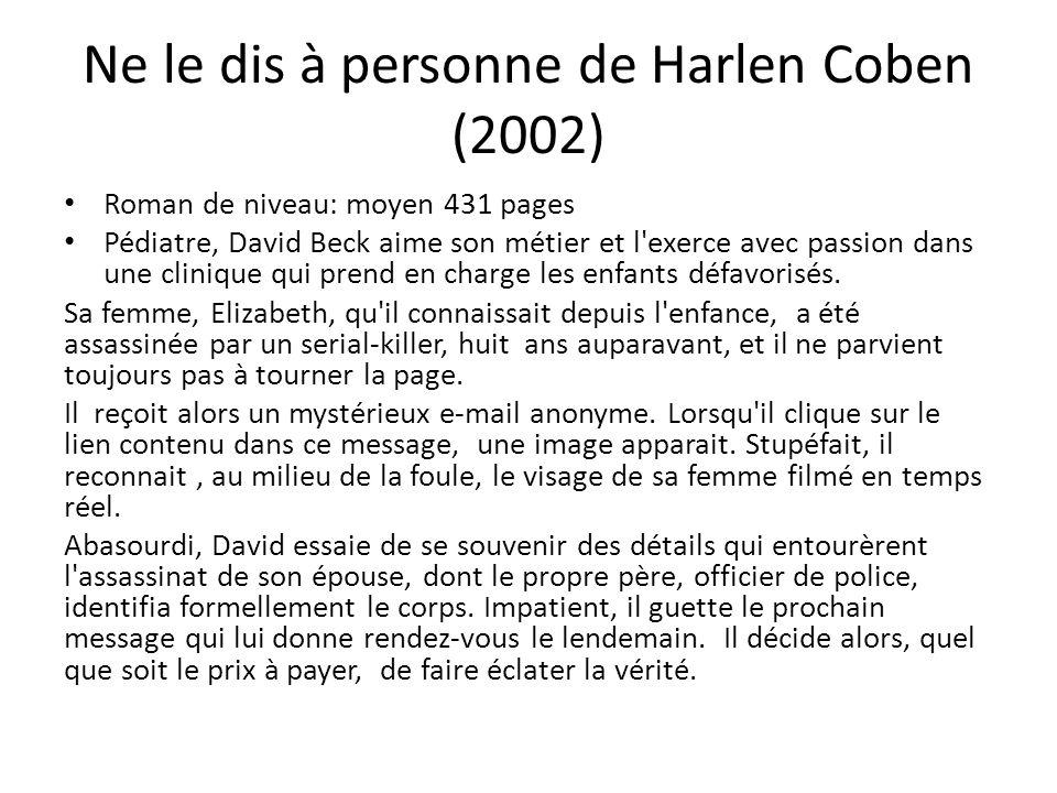 Ne le dis à personne de Harlen Coben (2002) Roman de niveau: moyen 431 pages Pédiatre, David Beck aime son métier et l'exerce avec passion dans une cl