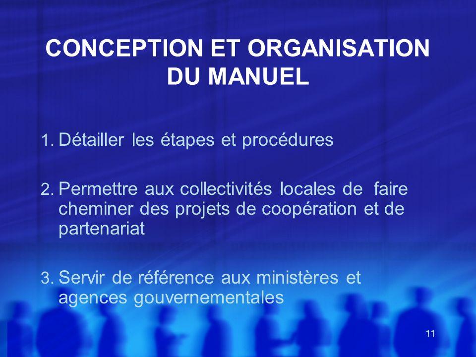 11 CONCEPTION ET ORGANISATION DU MANUEL 1. Détailler les étapes et procédures 2. Permettre aux collectivités locales de faire cheminer des projets de