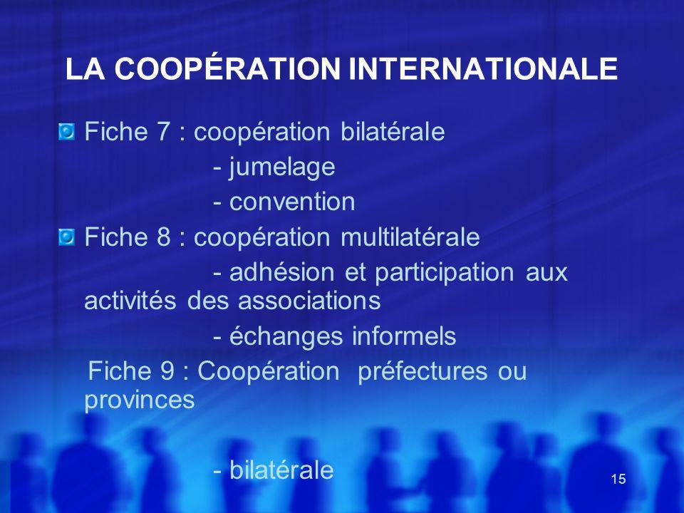 15 LA COOPÉRATION INTERNATIONALE Fiche 7 : coopération bilatérale - jumelage - convention Fiche 8 : coopération multilatérale - adhésion et participat