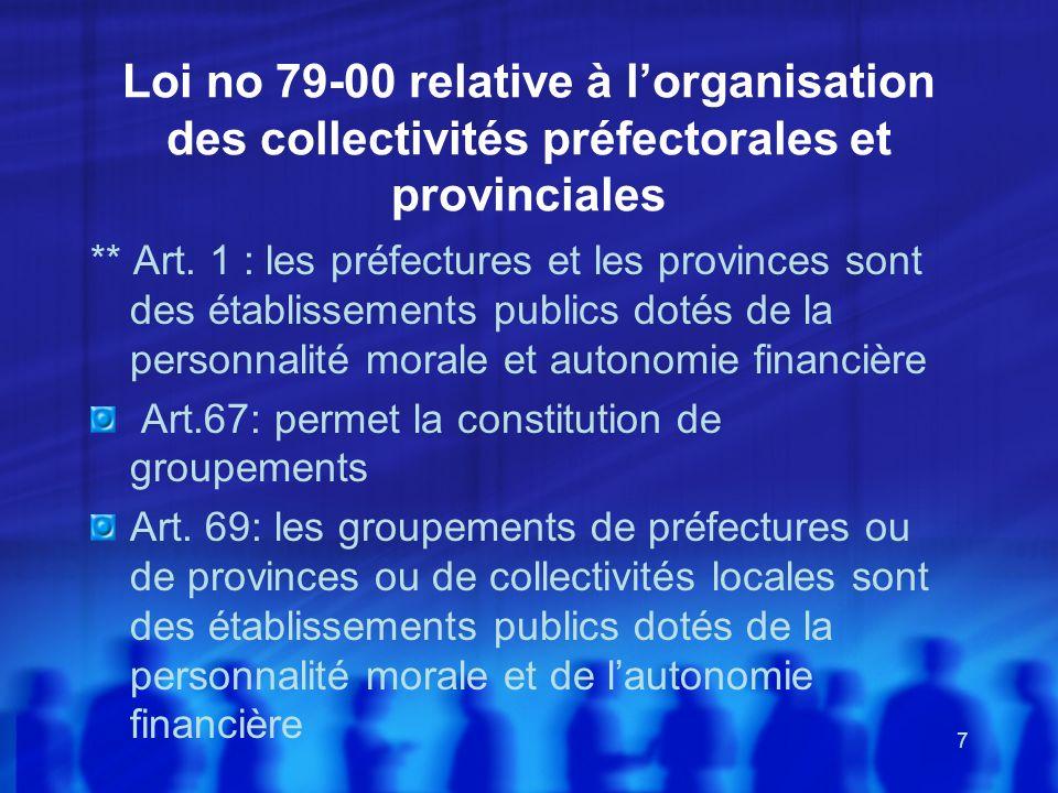 7 Loi no 79-00 relative à lorganisation des collectivités préfectorales et provinciales ** Art. 1 : les préfectures et les provinces sont des établiss