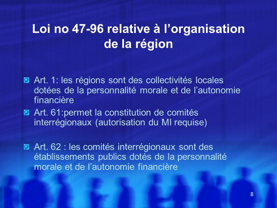 8 Loi no 47-96 relative à lorganisation de la région Art. 1: les régions sont des collectivités locales dotées de la personnalité morale et de lautono