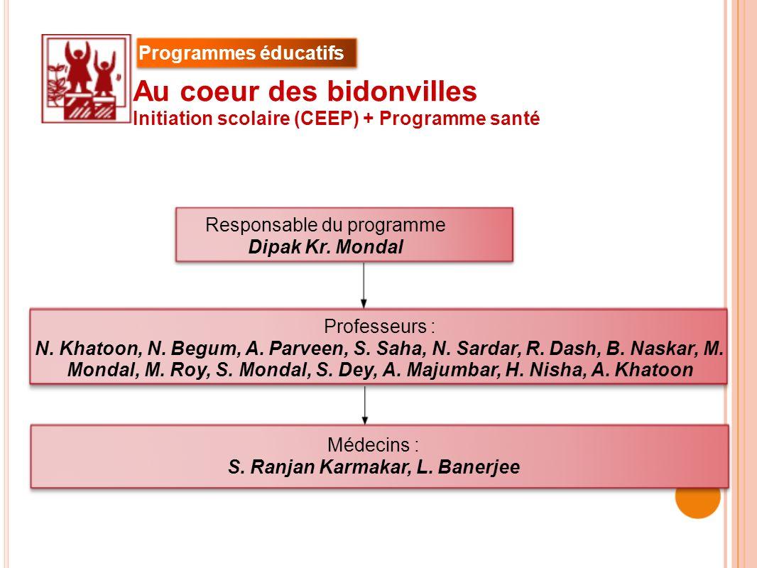 Responsable du programme Dipak Kr. Mondal Au coeur des bidonvilles Initiation scolaire (CEEP) + Programme santé Professeurs : N. Khatoon, N. Begum, A.