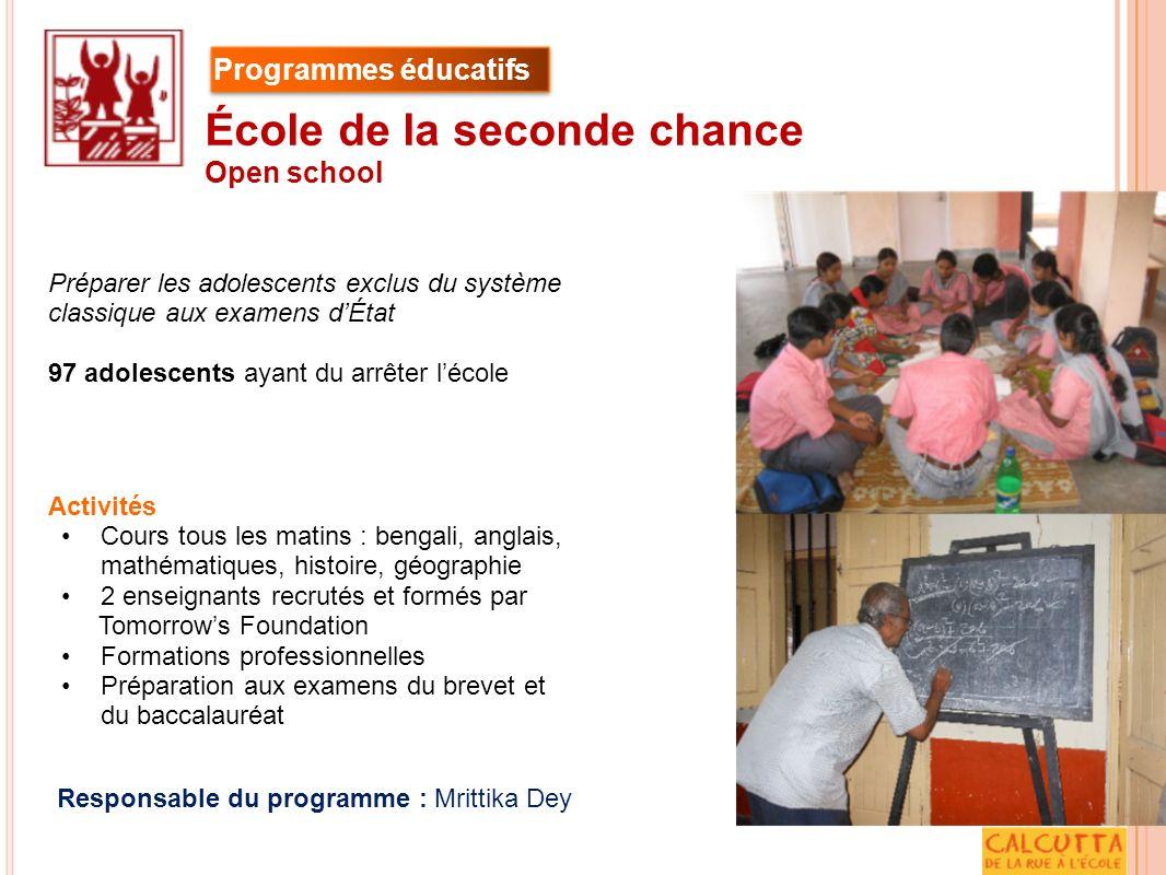 Activités Cours tous les matins : bengali, anglais, mathématiques, histoire, géographie 2 enseignants recrutés et formés par Tomorrows Foundation Form