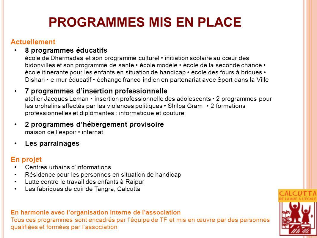 PROGRAMMES MIS EN PLACE Actuellement 8 programmes éducatifs école de Dharmadas et son programme culturel initiation scolaire au cœur des bidonvilles e