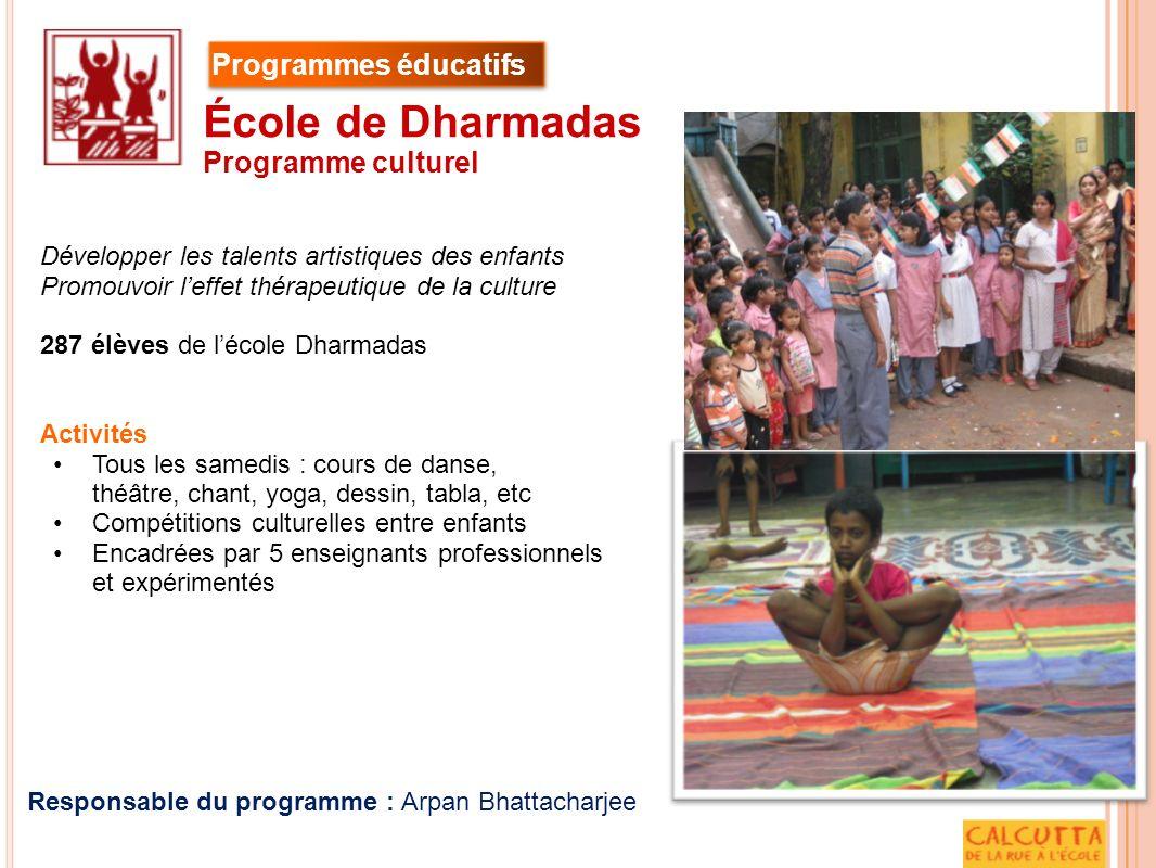 Développer les talents artistiques des enfants Promouvoir leffet thérapeutique de la culture 287 élèves de lécole Dharmadas Activités Tous les samedis