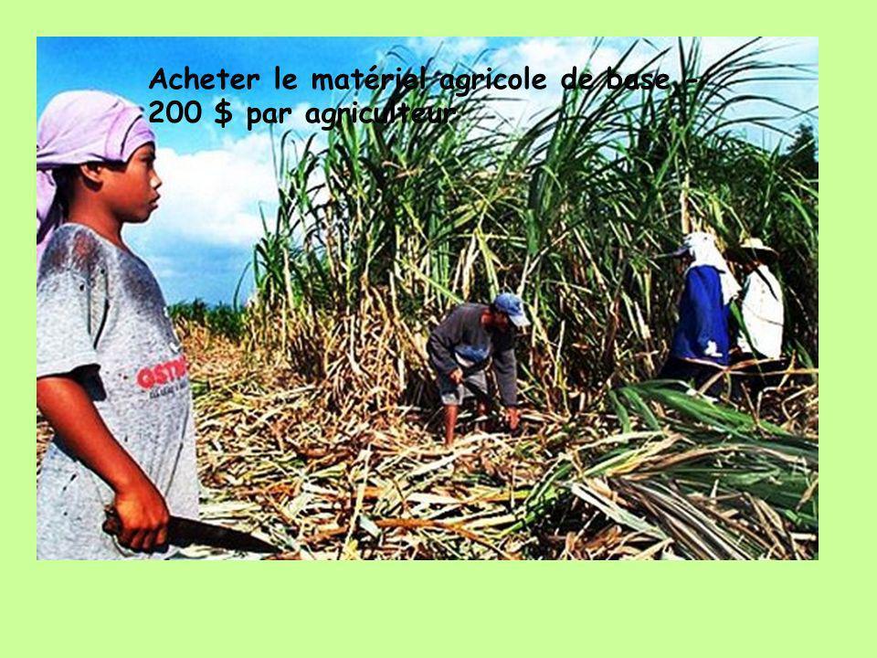Acheter le matériel agricole de base - 200 $ par agriculteur